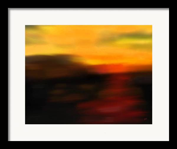 Abstract Art Framed Print featuring the painting Day's End by Gerlinde Keating - Galleria GK Keating Associates Inc