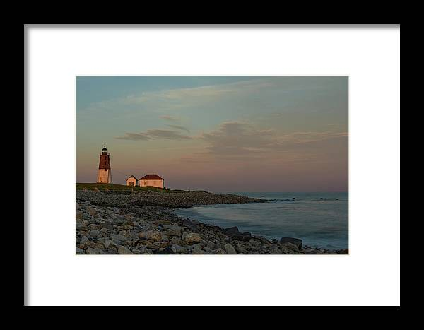 Lighthouse Framed Print featuring the photograph Days End by Terri Mongeon