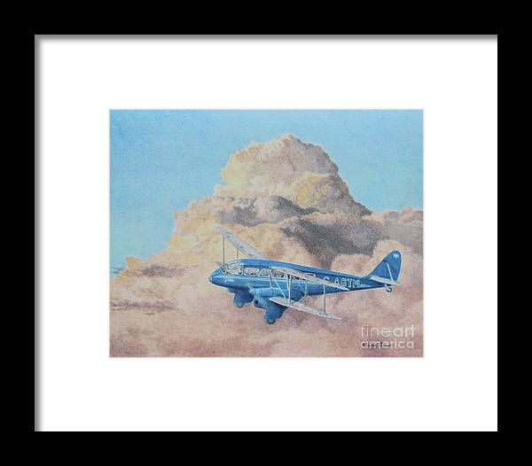 Aircraft Framed Print featuring the painting de Havilland Dragon Rapide by Elaine Jones