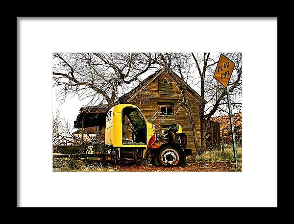 Decay Framed Print featuring the photograph Dead End In Cuervo New Mexico by Jennifer Addington