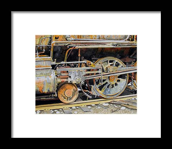 Train Framed Print featuring the painting Dead In Its Tracks by Ferrel Cordle