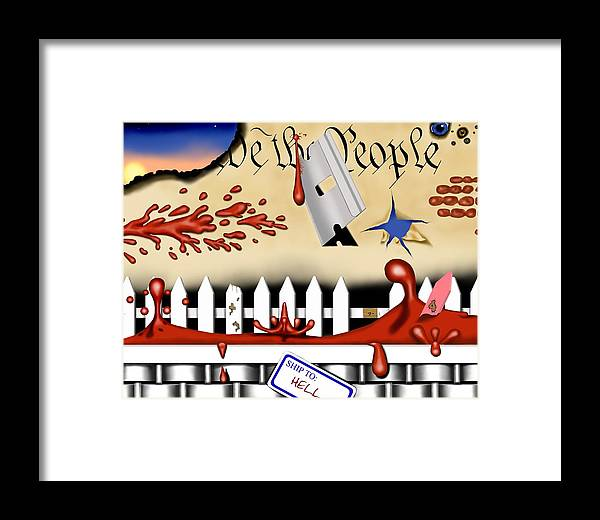 Political Surreal Framed Print featuring the digital art Dead White And Blue I by Robert Morin