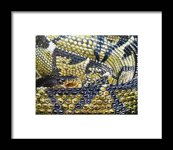 Snake Framed Print featuring the painting Deadly Details by Cara Bevan