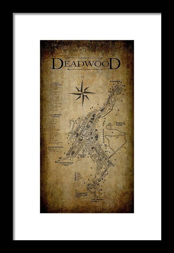 Deadwood South Dakota Map Framed Print by Daniel Hagerman on