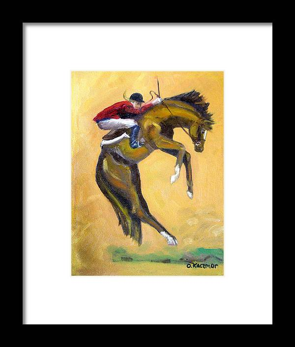 Horse Framed Print featuring the painting Death Defying Ride by Olga Kaczmar