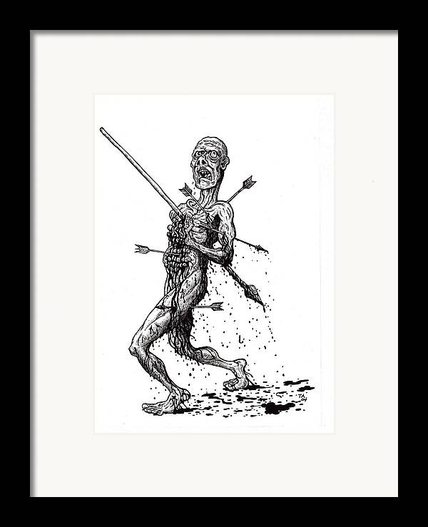 Dark Framed Print featuring the drawing Death March by Tobey Anderson