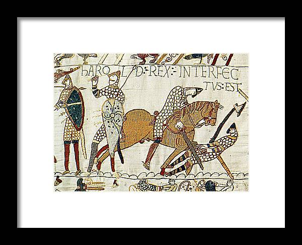 History Framed Print featuring the photograph Death Of Harold, Bayeux Tapestry by Photo Researchers