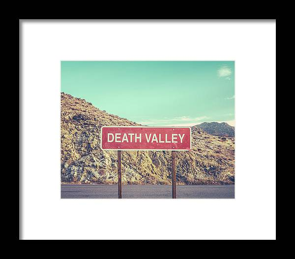 Beautiful Framed Print featuring the photograph Death Valley Sign by Mr Doomits