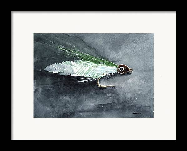 Fishing Framed Print featuring the painting Deceiver Fishing Fly by Sean Seal