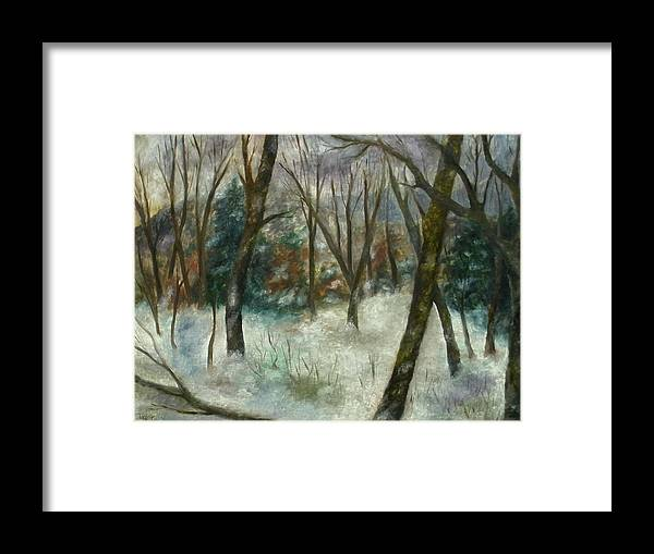 Forest Framed Print featuring the painting December On Cooper Hill by FT McKinstry