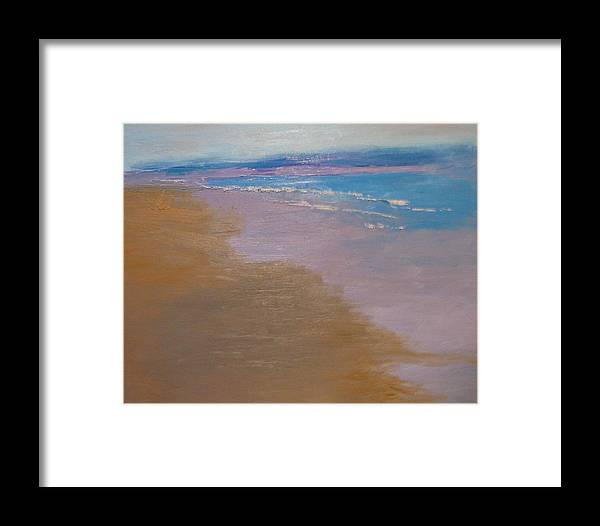 Sea Scape Framed Print featuring the painting sold December Sea Shore in California by Irena Jablonski