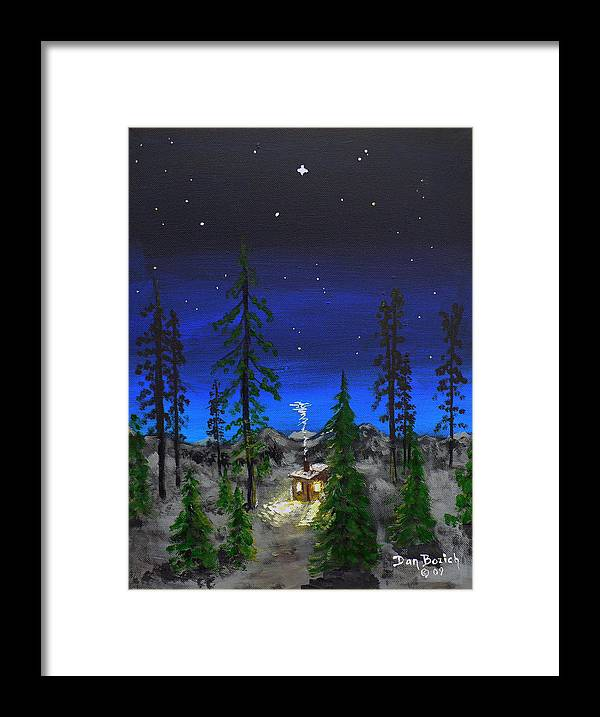 Bright Star Framed Print featuring the painting Decembers Star by Dan Bozich