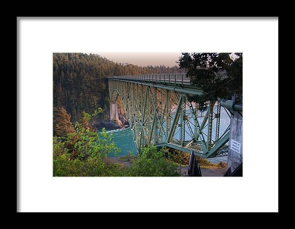 Deception Pass Bridge Framed Print featuring the photograph Deception Pass Bridge Br-8943 by Mary Gaines