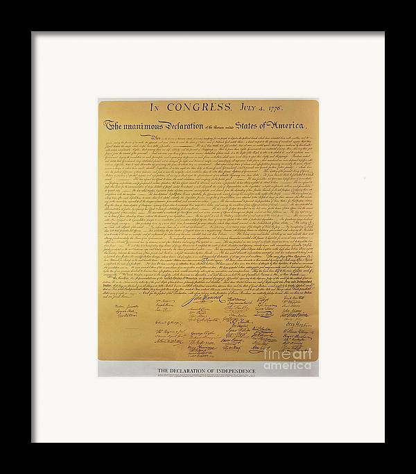 Declaration Framed Print featuring the painting Declaration Of Independence by American School