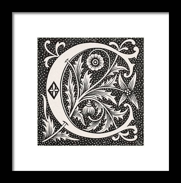 Capital Framed Print featuring the drawing Decorative Capital Letter C by  Vintage Design Pics 7e69026a16