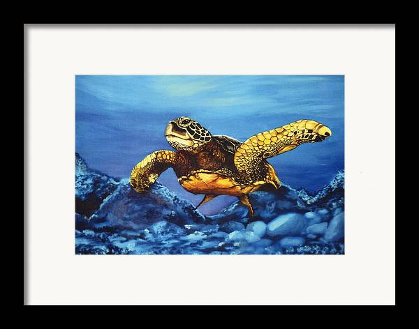 Turtle Framed Print featuring the painting Deep Blue by Kathleen Kelly Thompson