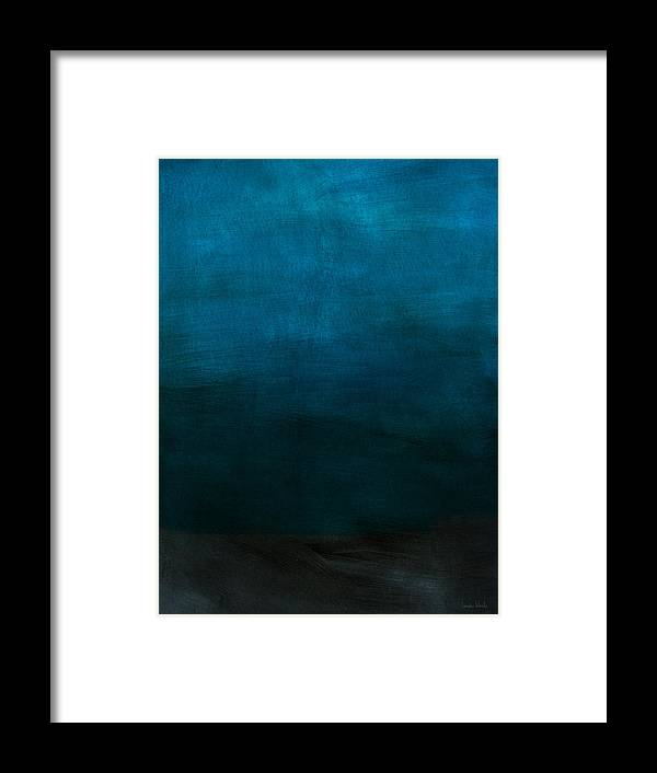 Blue Framed Print featuring the mixed media Deep Blue Mood- Abstract Art by Linda Woods by Linda Woods