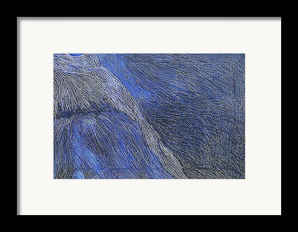 Abstract Framed Print featuring the painting Deep Blue by Prakash Bal Joshi