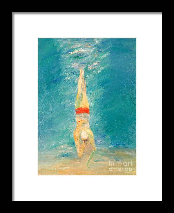 Water Framed Print featuring the painting Deep Dive by Lisa Baack