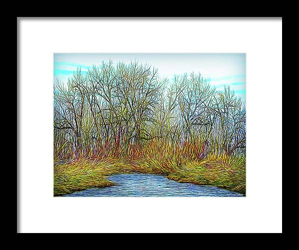 Joelbrucewallach Framed Print featuring the digital art Deep Forest River by Joel Bruce Wallach