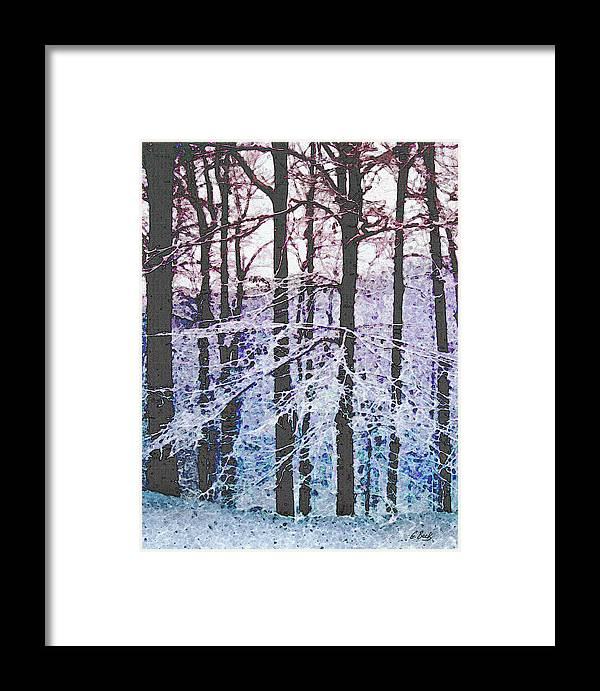 Snow Snowy Forest Textured Impressionistic Gordon Beck Art Framed Print featuring the mixed media Deep Freeze by Gordon Beck