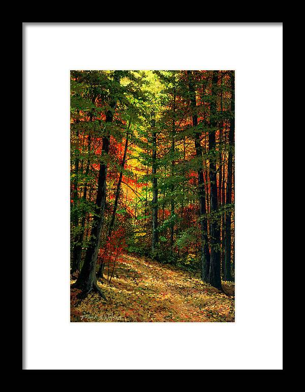 Landscape Framed Print featuring the painting Deep In The Forest by Frank Wilson