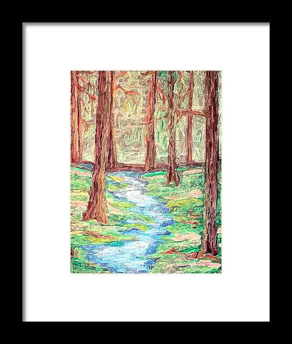 Landscape Framed Print featuring the digital art Deep In The Forest by Margie Byrne