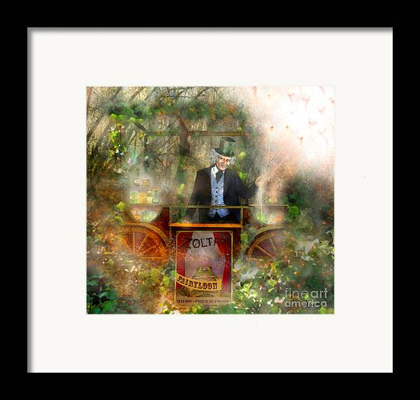 Fairy Framed Print featuring the mixed media Deep In The Woods - Is The Fairyloon Man by Carrie Jackson
