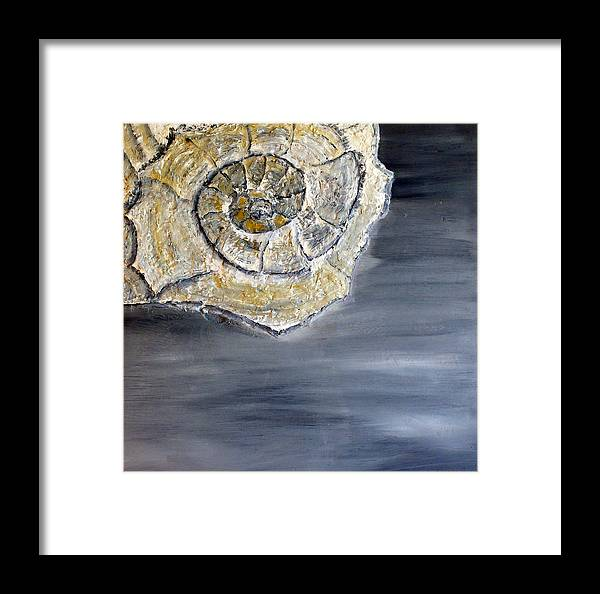 Still Life Paintings Framed Print featuring the painting Deep Ocean Seashell by Leslye Miller