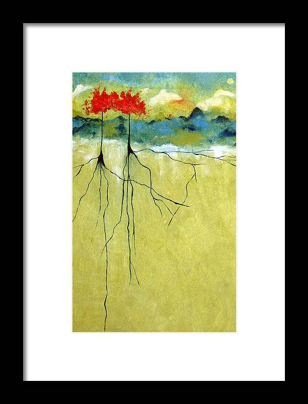 Abstract Framed Print featuring the painting Deep Roots by Ruth Palmer