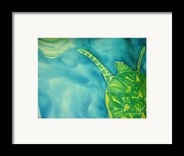 Sea Turtle Framed Print featuring the painting Deep Sea Flight by Eric Singleton