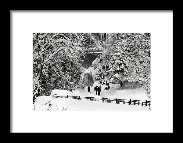 Deep Snow Multnomah Falls Framed Print featuring the photograph Deep Snow Multnomah Falls by Wes and Dotty Weber