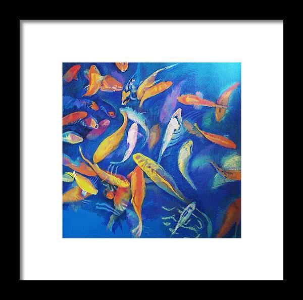 Koi Framed Print featuring the drawing Deep Waters by Aletha Kuschan