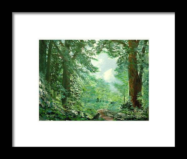 Landscape Framed Print featuring the painting Deep Woods Path by Hal Newhouser