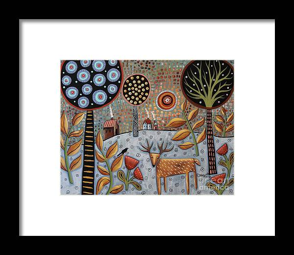 Landscape Framed Print featuring the painting Deer And Bird 1 by Karla Gerard