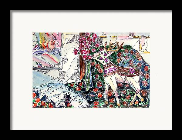 Deer Framed Print featuring the painting Deer And Roses by Mindy Newman
