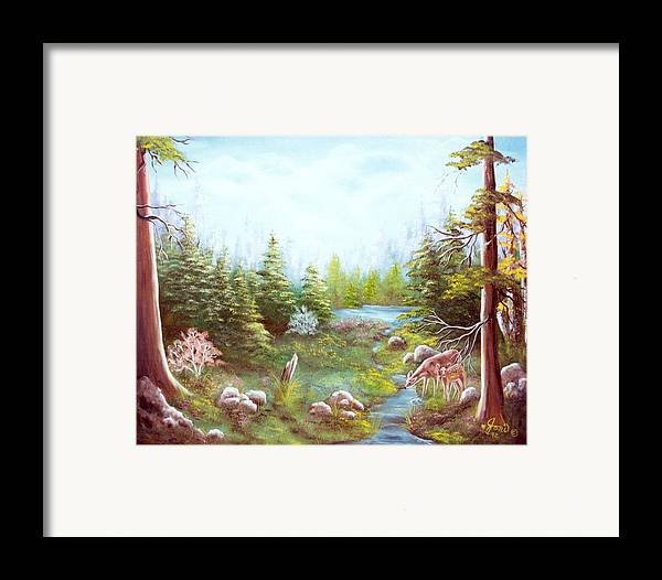 Landscape Framed Print featuring the painting Deer And Stream by Joni McPherson