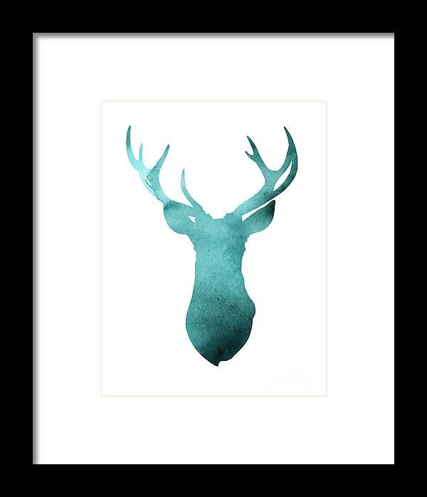 Deer Framed Print featuring the painting Deer Head Watercolor Giclee Print by Joanna Szmerdt