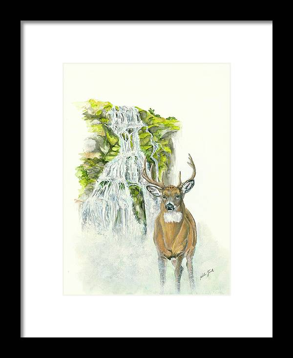 Deer Framed Print featuring the painting Deer In The Mist by Halie French