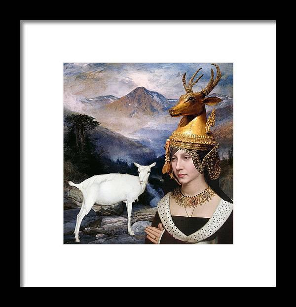 Women Framed Print featuring the digital art Deer Medicine Woman by Laura Botsford