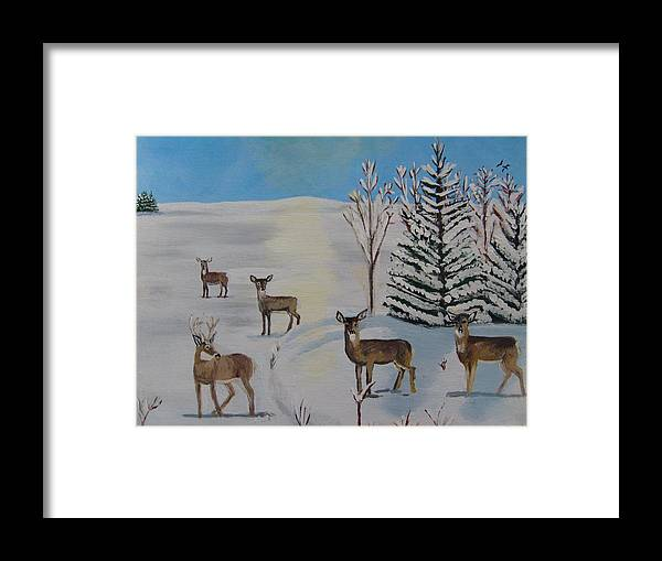 Deer Framed Print featuring the painting Deer On The Frozen Lake by Aleta Parks