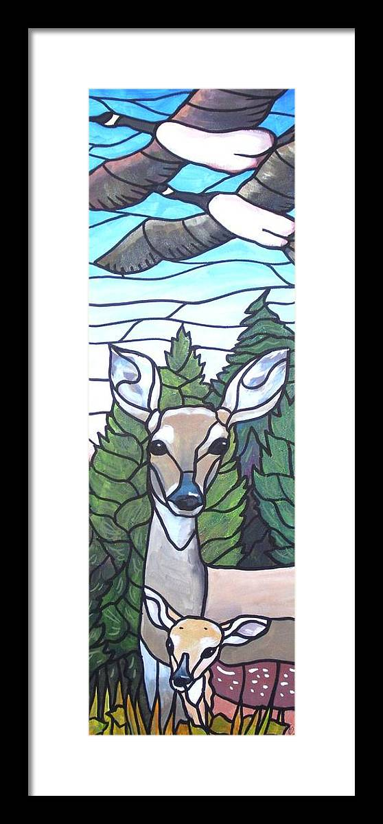 Deer Framed Print featuring the painting Deer Scene by Jim Harris