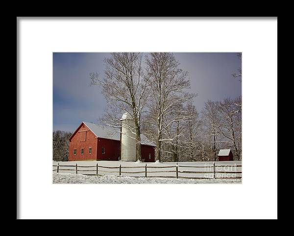 Red Barns Framed Print featuring the photograph Deerfield Red Barn by Diana Nault