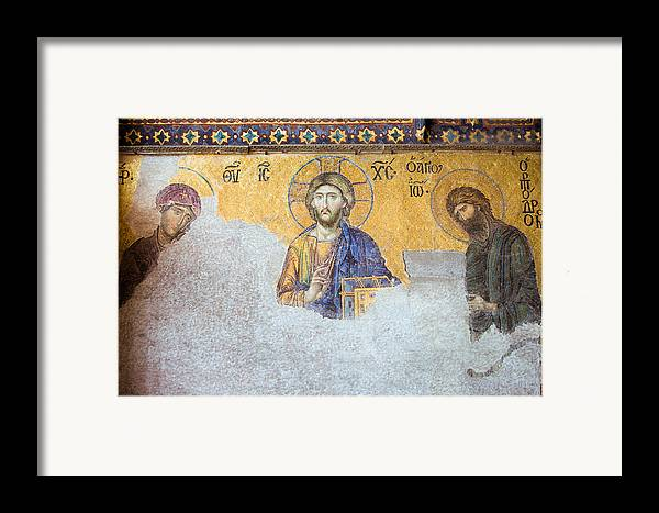 Art Framed Print featuring the photograph Deesis Mosaic Of Jesus Christ by Artur Bogacki