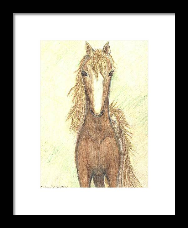 Horse Framed Print featuring the drawing Defiant Freedom by Jennifer Skalecke