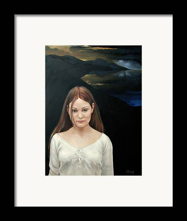 Facial Expressioin Framed Print featuring the painting Defiant Girl 2004 by Jerrold Carton