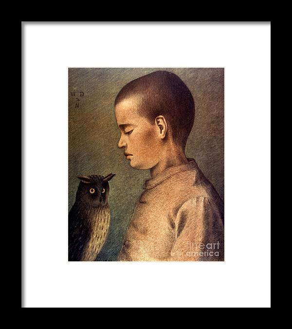 1892 Framed Print featuring the photograph Degouve: Child & Owl, 1892 by Granger