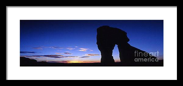 Delicate Arch Framed Print featuring the photograph Delicate Arch At Dusk Panoramic by Sven Brogren