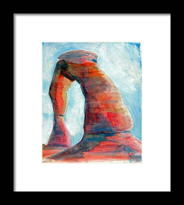 Landscape Framed Print featuring the painting Delicate Arch by David Keene