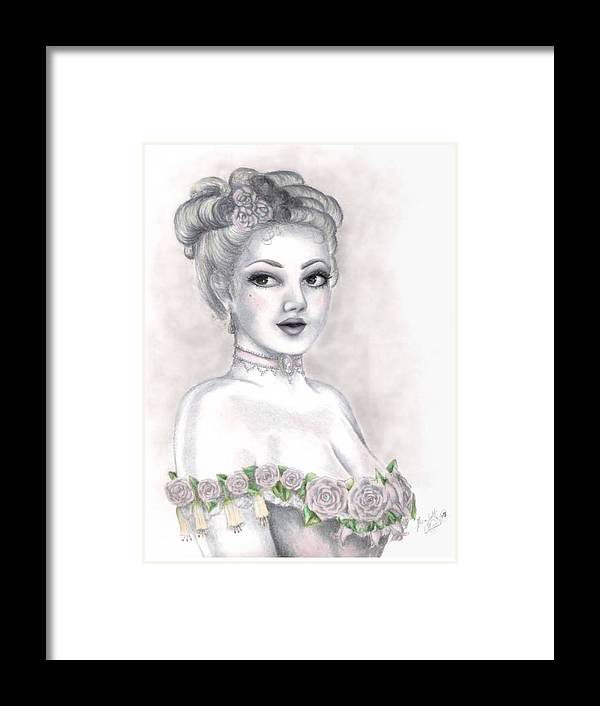 Portrait Framed Print featuring the drawing Delicate Beauty by Scarlett Royal